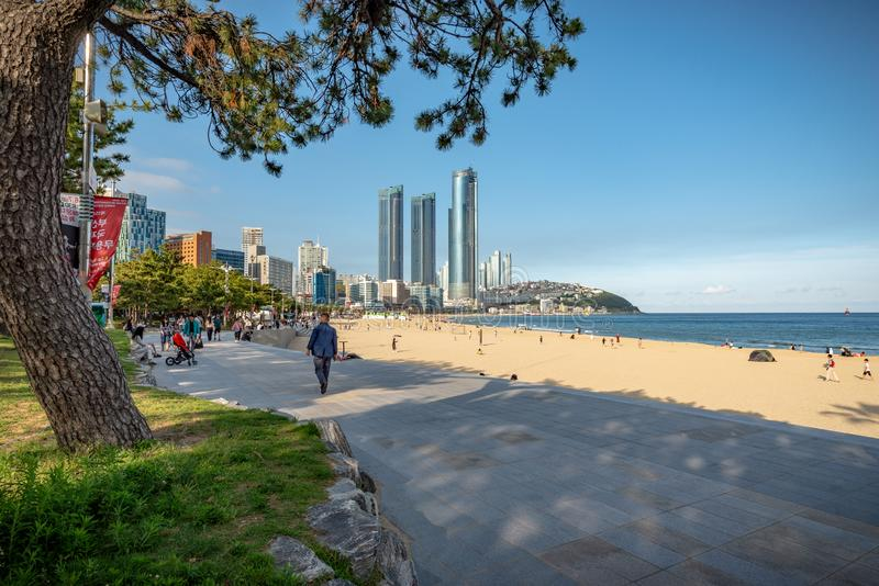 Vista capítulo de la playa de Haeundae fotos de archivo