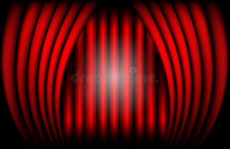 Vista cercana de una cortina roja del terciopelo Ejemplo del vector del fondo del teatro ilustración del vector