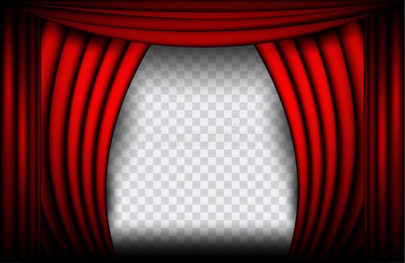 Vista cercana de una cortina roja del terciopelo Ejemplo del vector del fondo del teatro, etapa de Teathre aislada ilustración del vector