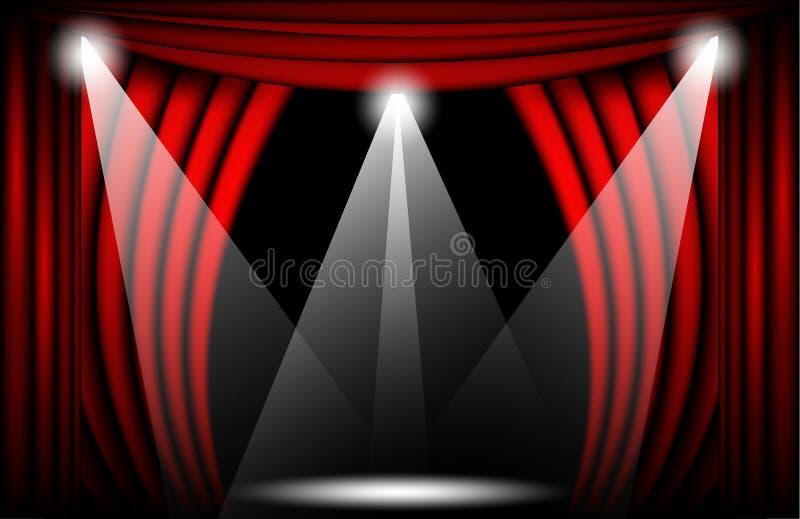 Vista cercana de una cortina roja del terciopelo Ejemplo del vector del fondo del teatro, etapa de Teathre con los proyectores stock de ilustración