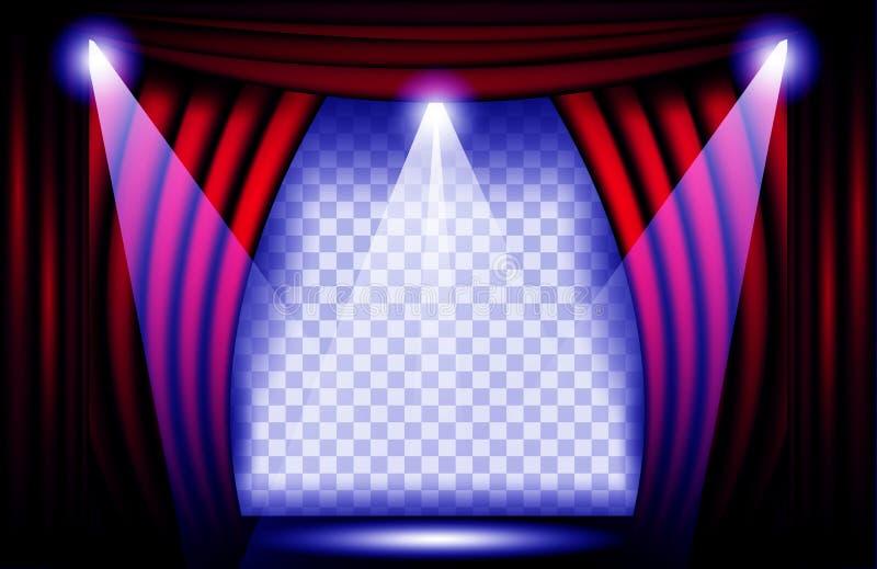 Vista cercana de una cortina roja del terciopelo Ejemplo del vector del fondo del teatro, etapa de Teathre con los proyectores ilustración del vector