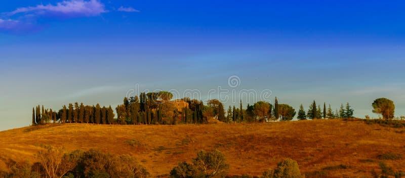 Vista classica del paesaggio scenico della Toscana immagine stock