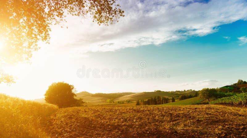 Vista classica del paesaggio scenico della Toscana fotografia stock libera da diritti