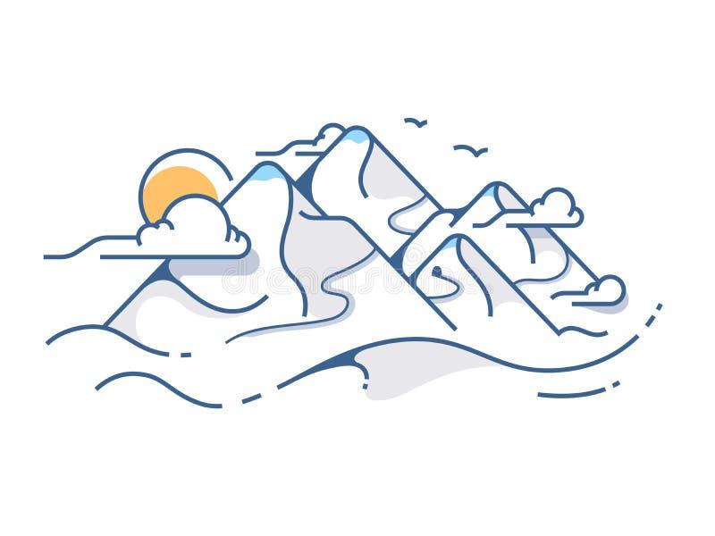 Vista coberto de neve das montanhas ilustração stock