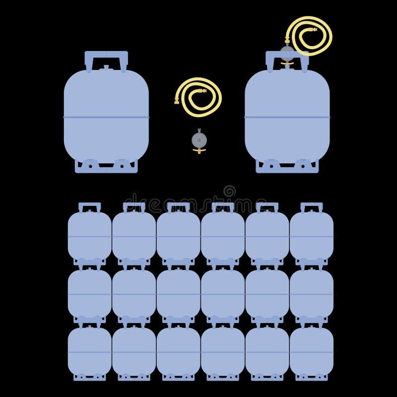Vista colorata e frontale della bottiglia di gas illustrazione di stock
