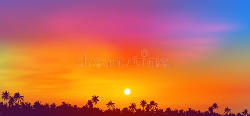 Vista colorida do sol do céu sobre palmeiras tropicais silhueta escura da floresta, ilustração vetorial ilustração royalty free
