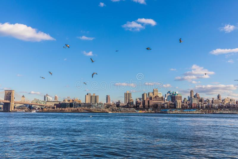 Vista com Manhattan, New York imagem de stock royalty free