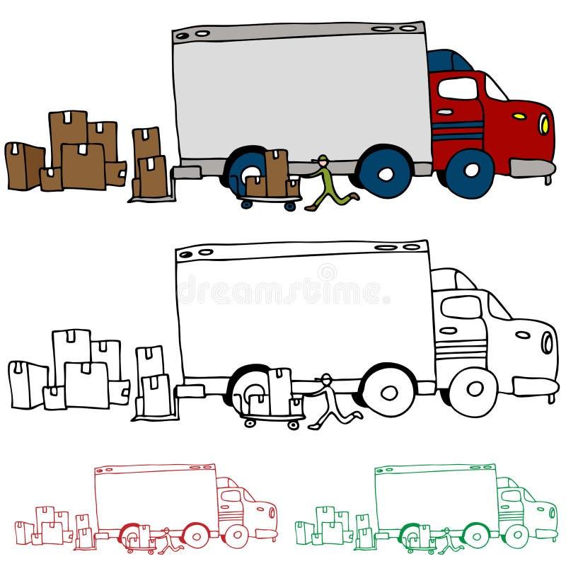 Vista commovente di profilo del camion illustrazione vettoriale