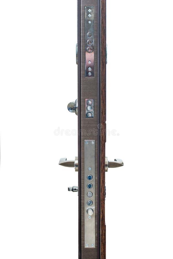 Vista corazzata della porta dal lato Maniglia di porta, serratura di porta Completamente porta aperta su un fondo bianco immagini stock libere da diritti