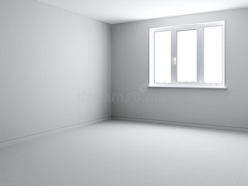 Vista d'angolo del fondo sull'interno bianco 3d con la finestra tricuspide illustrazione di stock