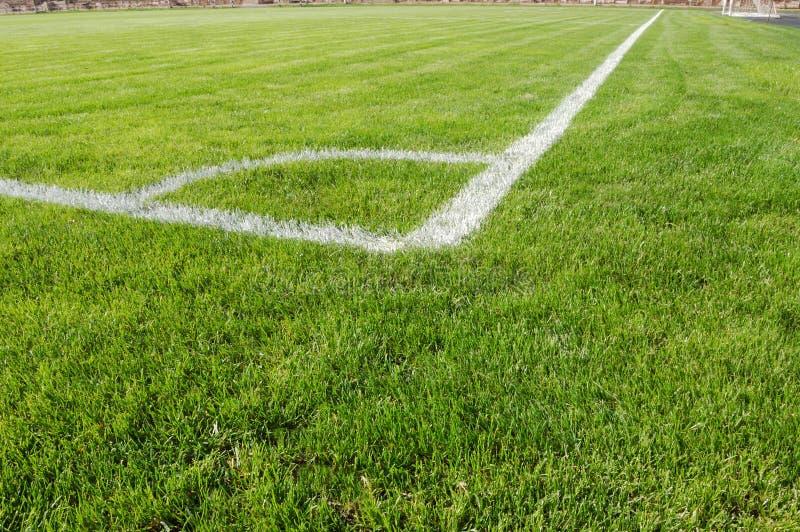 vista d'angolo di calcio del campo fotografie stock libere da diritti