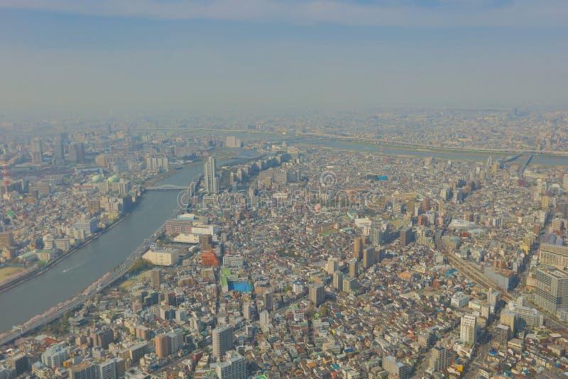 vista da árvore do céu do Tóquio em 2016 imagens de stock