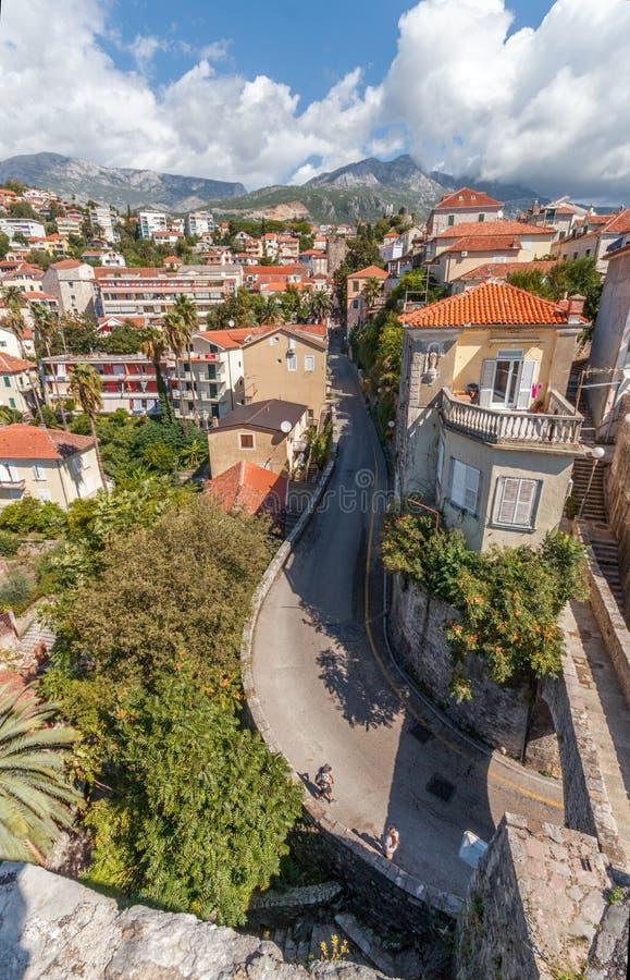 Vista da égua do forte em Herceg Novi, Montenegro fotos de stock royalty free
