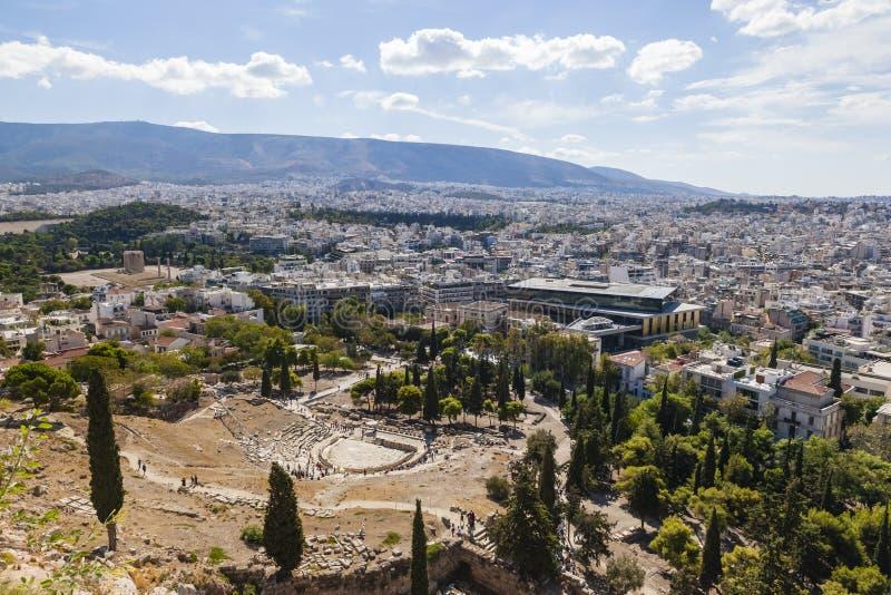 Vista da acrópole sobre a cidade de Atenas, Grécia fotografia de stock