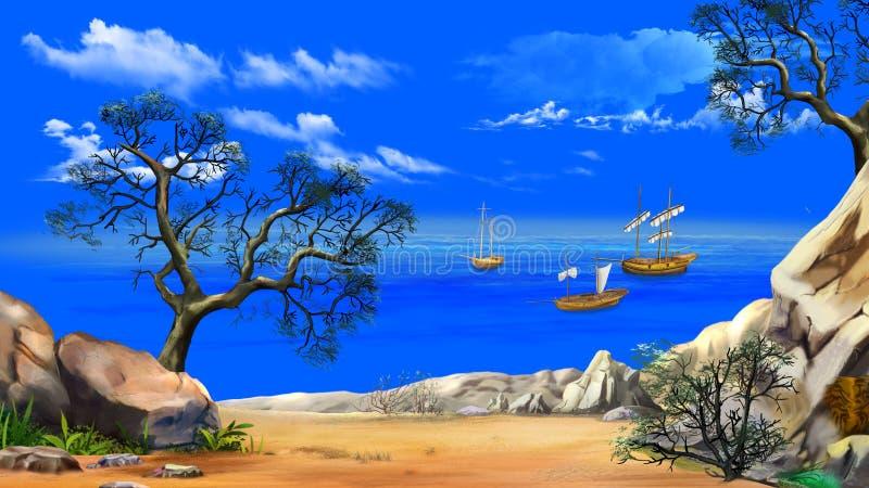 Vista da baía com as embarcações de pesca contra o céu azul ilustração royalty free