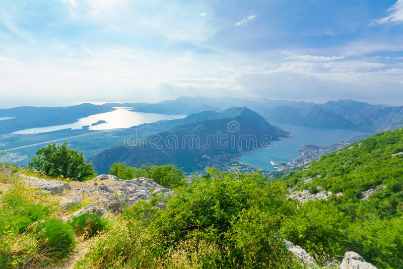Vista da baía de Kotor da montanha de Lovcen fotografia de stock royalty free