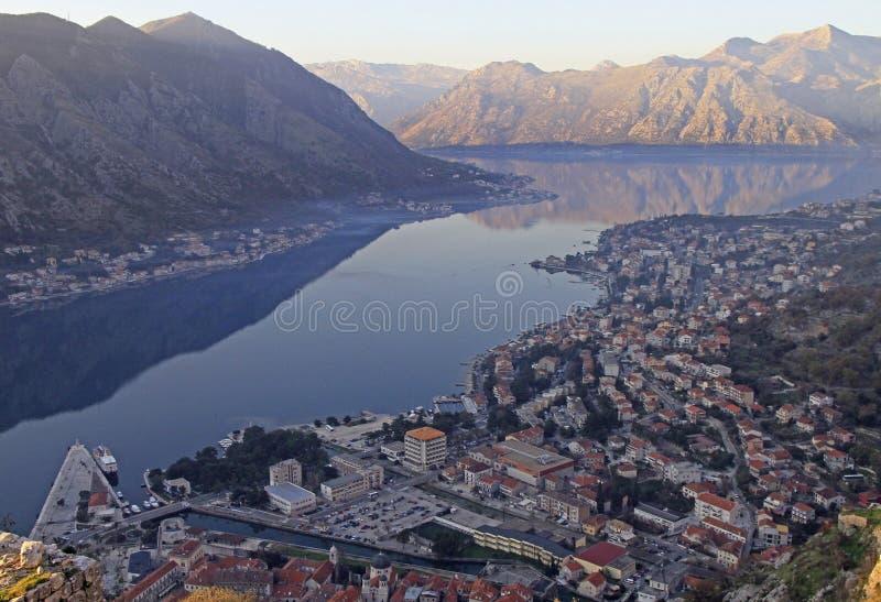 Vista da baía de Kotor da montanha de Lovcen imagens de stock royalty free
