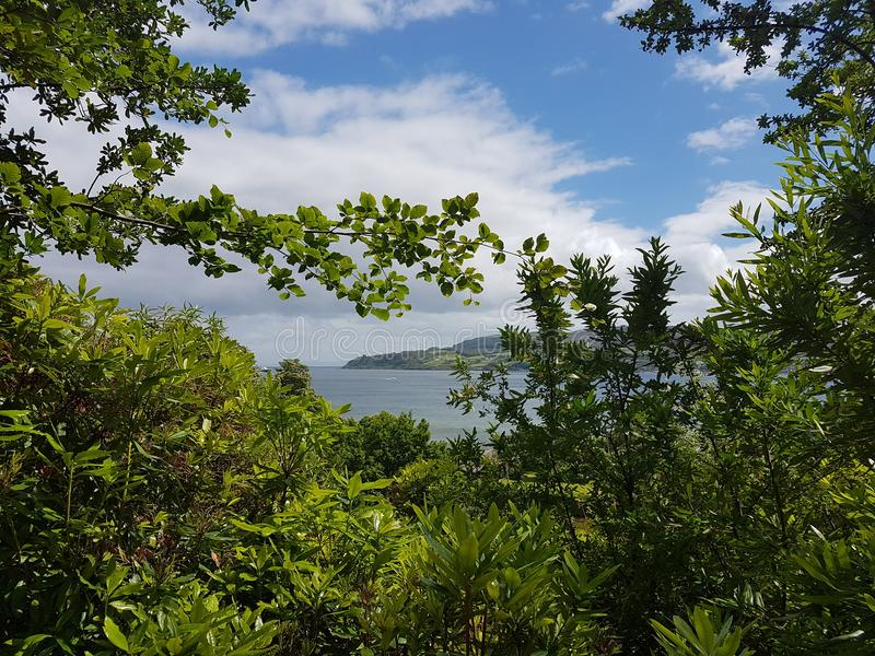 Vista da baía na ilha de Arran imagens de stock royalty free