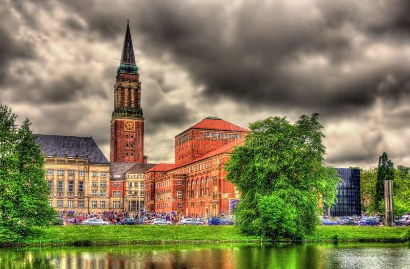 Vista da câmara municipal de Kiel fotos de stock
