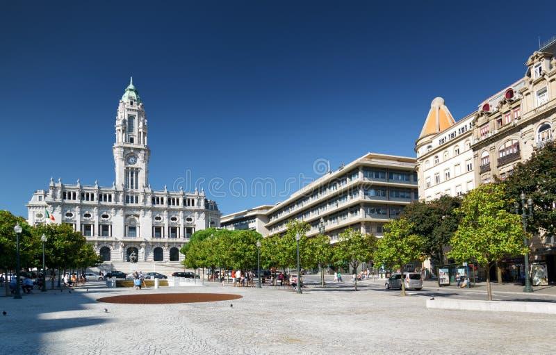 A vista da câmara municipal e da avenida dos aliados fotos de stock royalty free