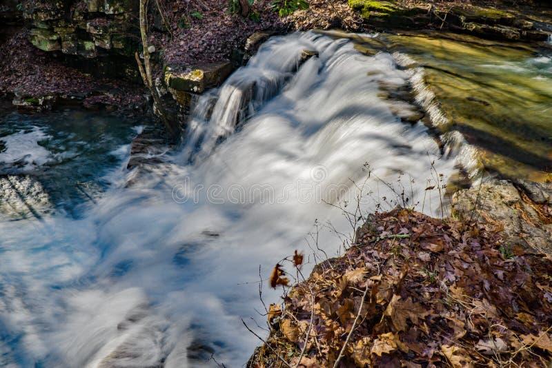 Vista da cachoeira principal das cachoeiras das minas de Fenwick imagem de stock