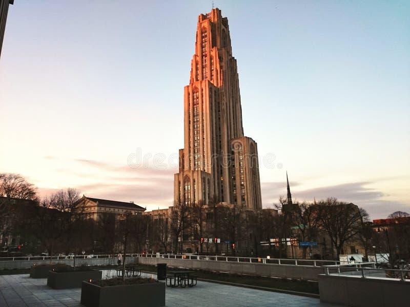 Vista da catedral da aprendizagem no por do sol foto de stock royalty free