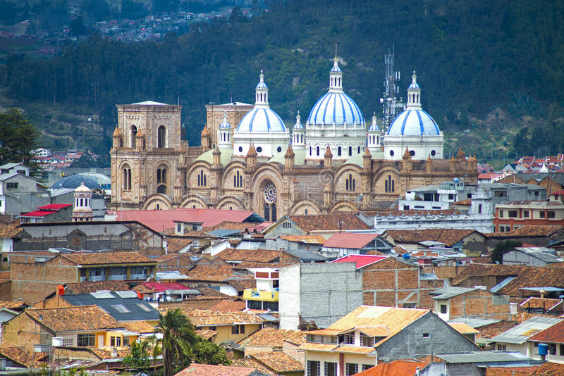 Vista da catedral de Cuenca fotografia de stock