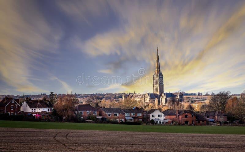 Vista da catedral de Salisbúria através do Salisbúria recolhido campos, Wiltshire, Reino Unido fotos de stock royalty free