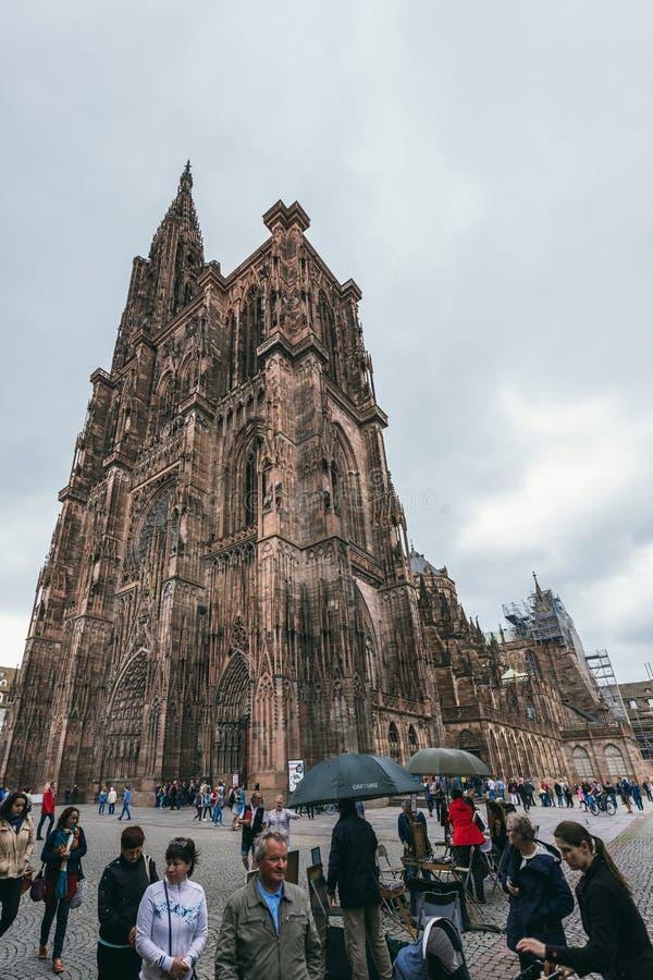 Vista da catedral em Strasbourg imagens de stock
