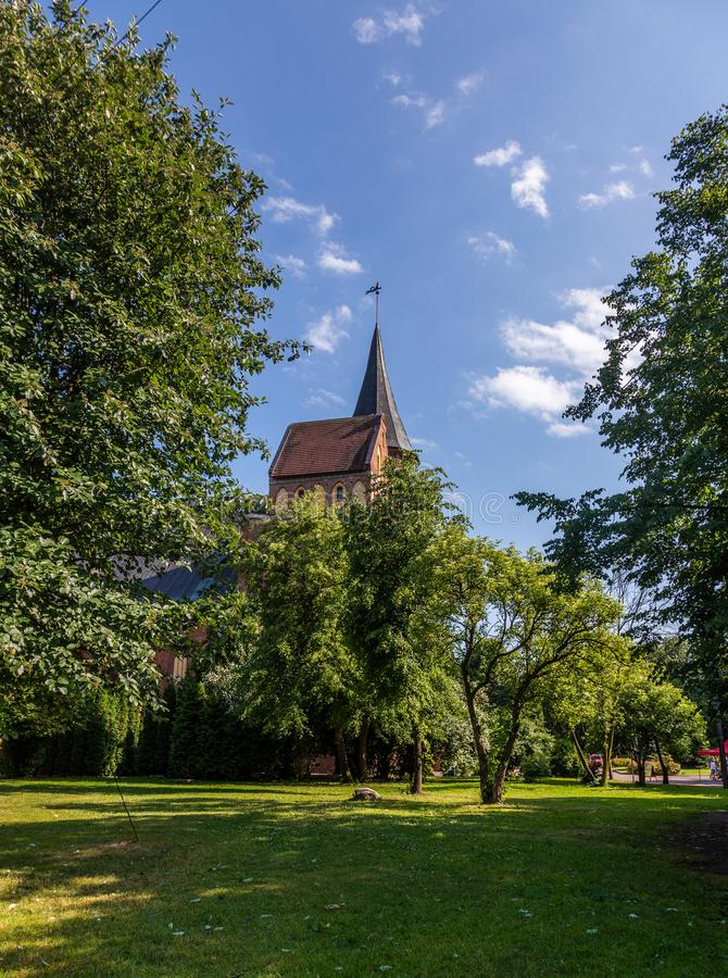 Vista da catedral onde a sepultura de Immanuel Kant é encontrada, Kaliningrad, Rússia imagens de stock