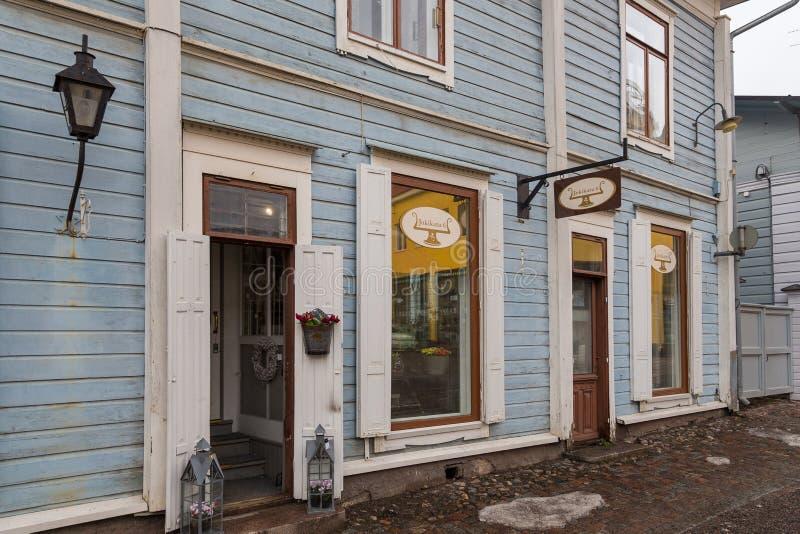 Vista da Cidade Antiga histórica, Vanha Porvoo, Finlândia fotos de stock royalty free