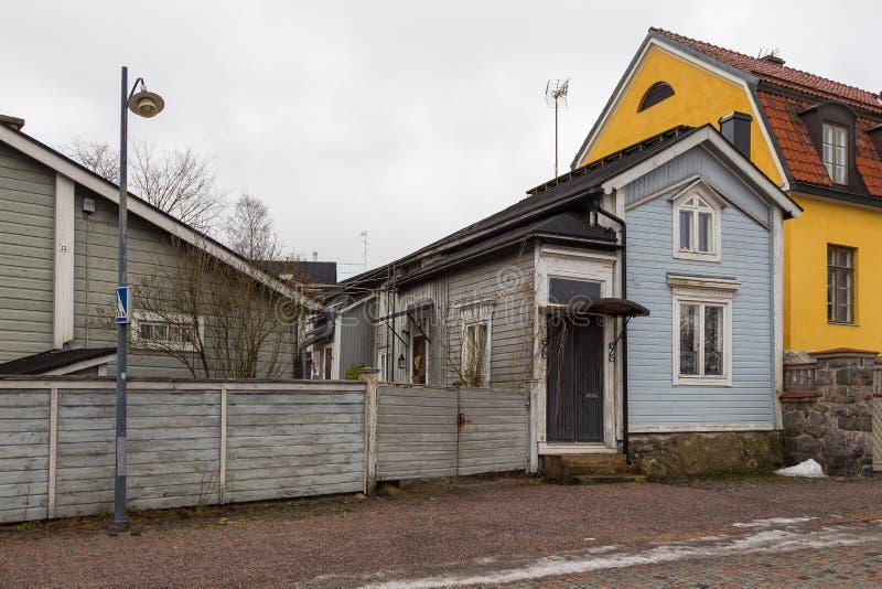 Vista da Cidade Antiga histórica, Vanha Porvoo, Finlândia foto de stock