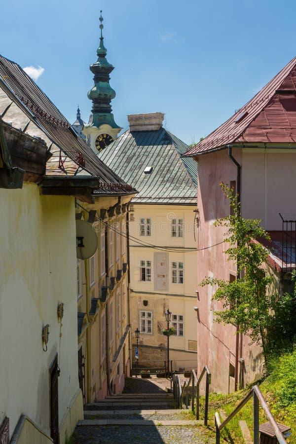 Vista da cidade Banska Stiavnica imagem de stock