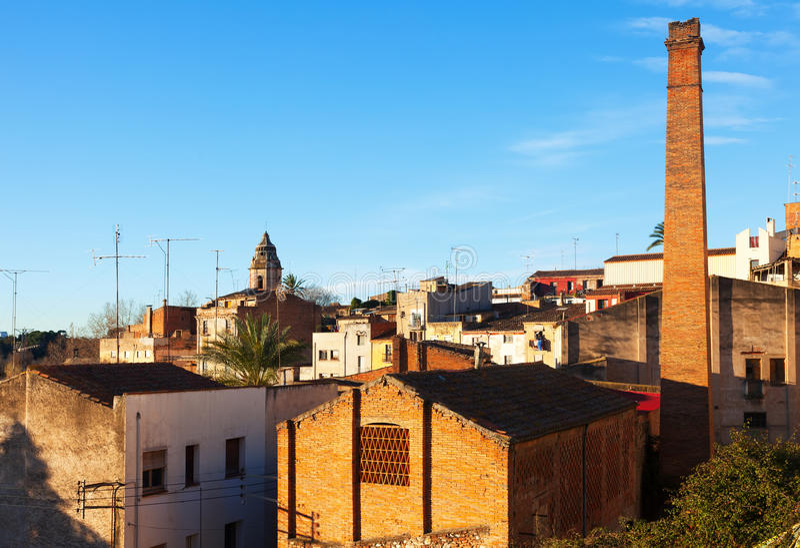 Vista da cidade Catalan velha Valls imagens de stock