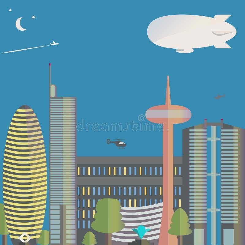 A vista da cidade A cidade com arranha-céus, helicópteros Para baixo cidade ilustração do vetor