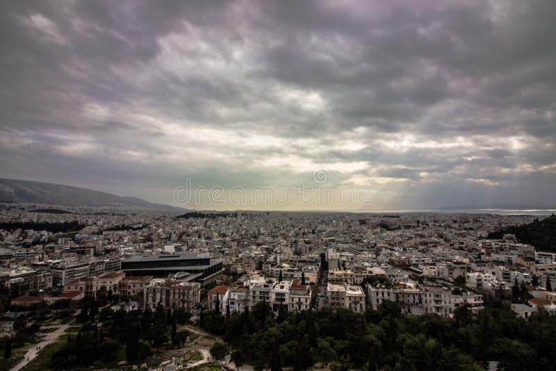 vista da cidade de Atenas, foto de stock