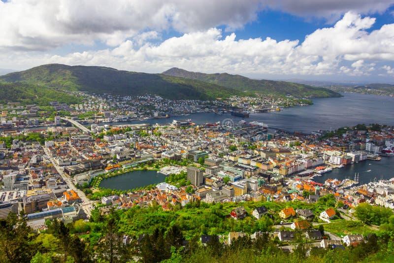 Vista da cidade de Bergen, Noruega imagem de stock