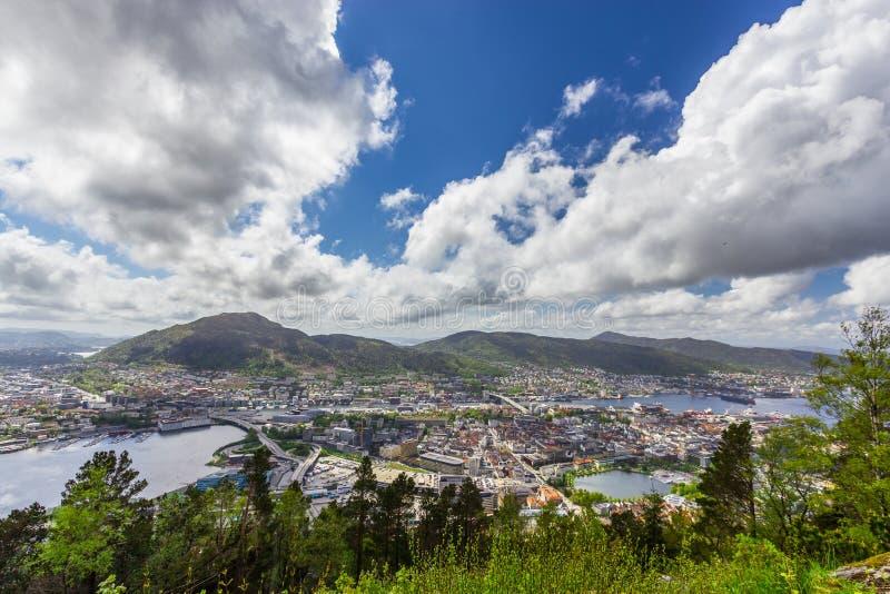 Vista da cidade de Bergen, Noruega imagens de stock royalty free