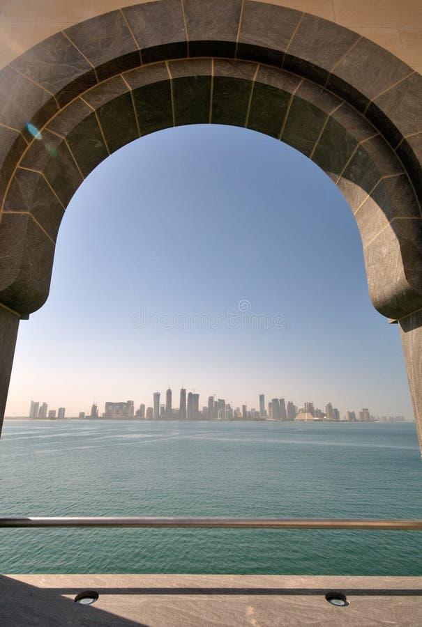 Vista da cidade de Doha do museu da arte islâmica imagens de stock royalty free