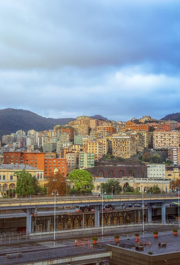 Vista da cidade de Genoa em Itália fotografia de stock