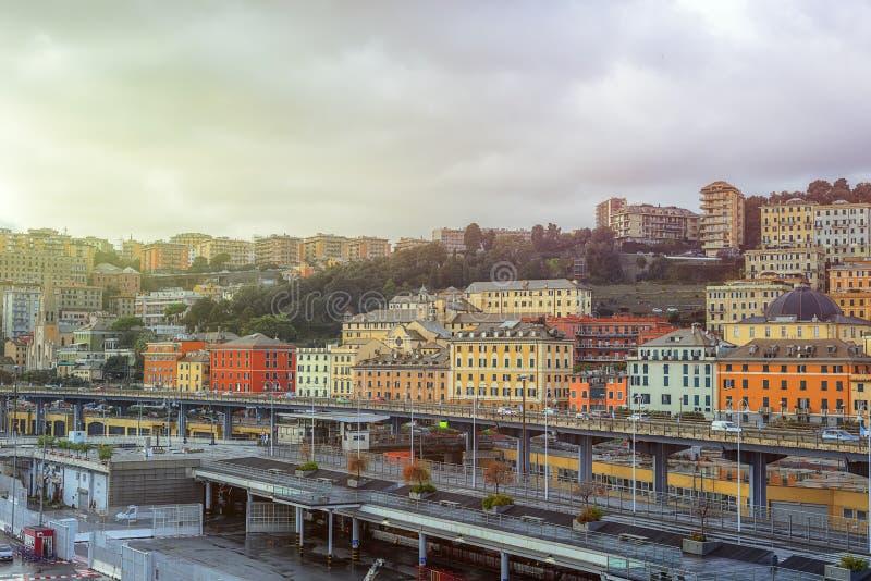 Vista da cidade de Genoa em Itália fotos de stock