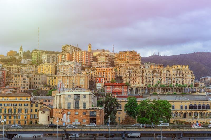 Vista da cidade de Genoa em Itália foto de stock