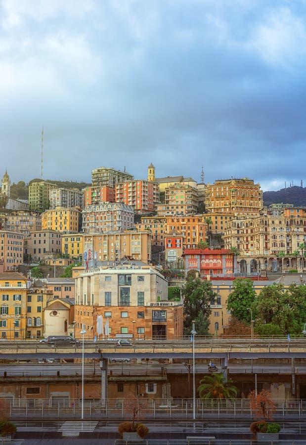 Vista da cidade de Genoa em Itália fotos de stock royalty free
