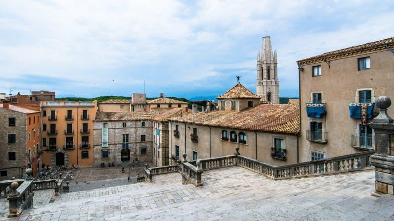 Vista da cidade de Gerona em Spain imagem de stock royalty free