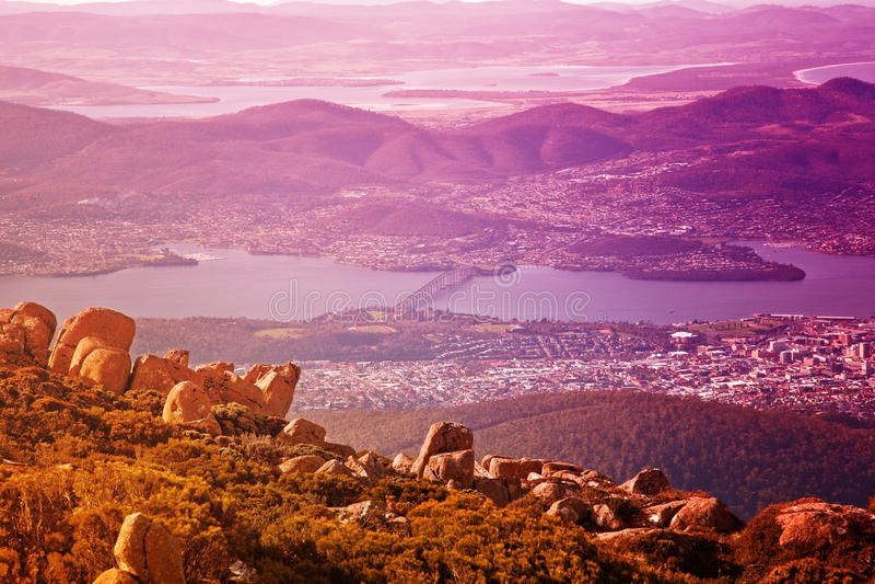 Vista da cidade de Hobart, montagem Wellington imagem de stock royalty free