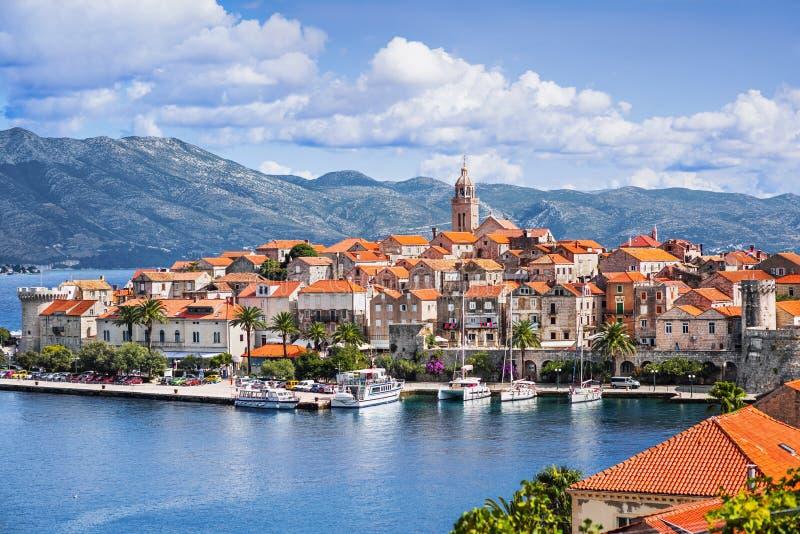 Vista da cidade de Korcula, ilha de Korcula, Dalmácia, Croácia foto de stock royalty free