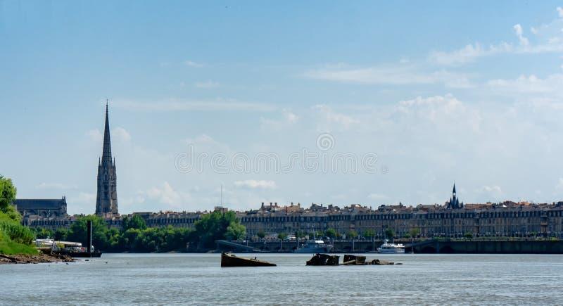 Vista da cidade do Bordéus em França imagem de stock
