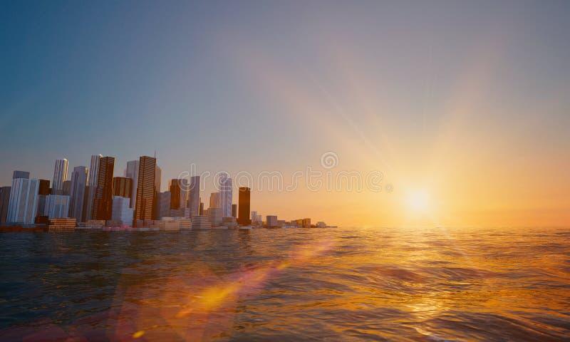 Vista da cidade na baía Por do sol de Beautifull fotografia de stock
