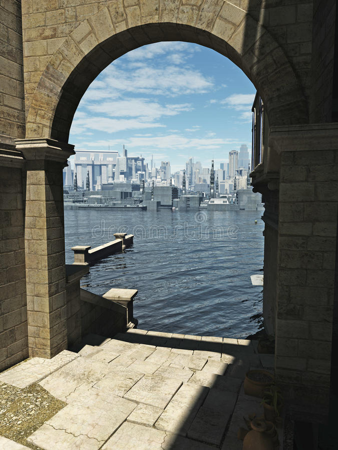 Vista da cidade velha à cidade futura ilustração royalty free