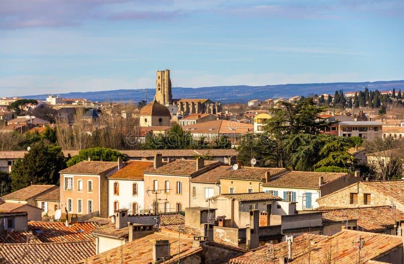 Vista da cidade velha de Carcassonne - França imagem de stock